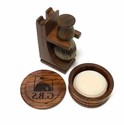 GBS Premium Men's Wood Shaving Set - Comes with Gift Box, Pu